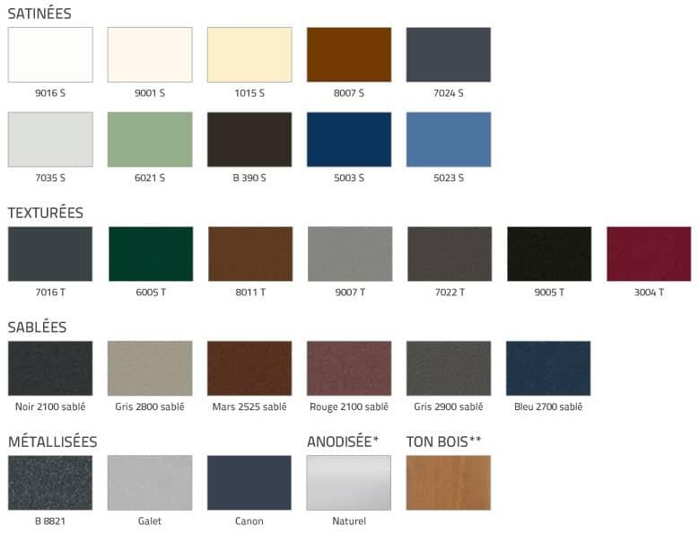 Fenetres 28 couleurs Aluminium